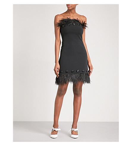 DAVID KOMA Ostrich feather-trim crepe dress (Black