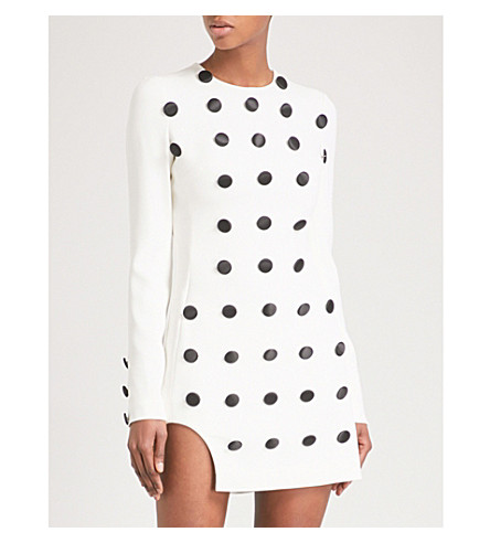 DAVID KOMA Button-embellished stretch-crepe mini dress (Wht/blk