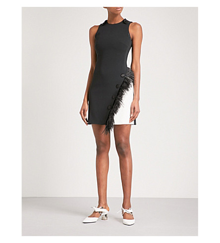 DAVID KOMA Ostrich feather-trim crepe dress (Blk/wht