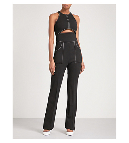 DAVID KOMA Cutout wool-blend jumpsuit (Blk/wht