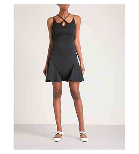 DAVID KOMA Cutout fit-and-flare woven mini dress (Black