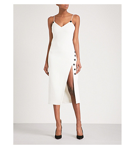 DAVID KOMA Button-embellished split-side crepe dress (Wht/blk