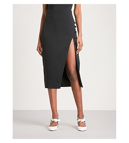 DAVID KOMA Buttoned slit-side crepe skirt (Black