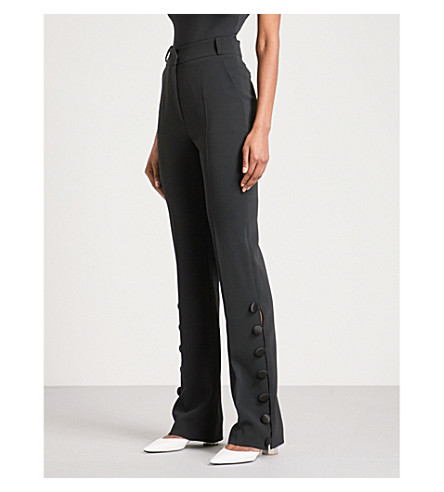 DAVID KOMA Button-detail straight high-rise crepe trousers (Black