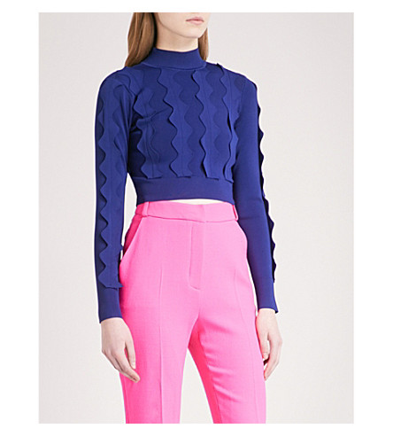 DAVID KOMA Zigzag-trim high-neck knitted jumper (Blue