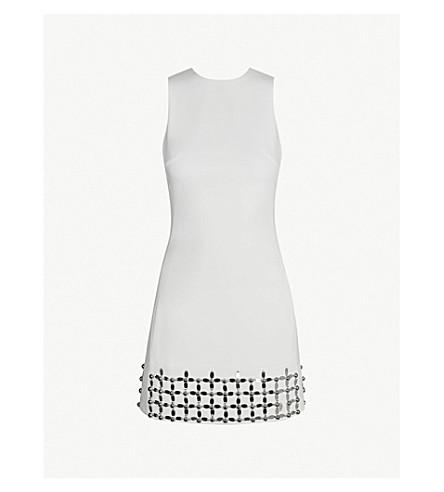 DAVID KOMA Floral-embellished crepe mini dress (White/silver