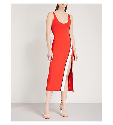 DAVID KOMA Contrast-stripe crepe dress (Red/white/black