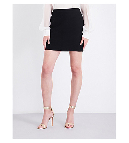 ALESSANDRA RICH High-rise fitted wool skirt (Black