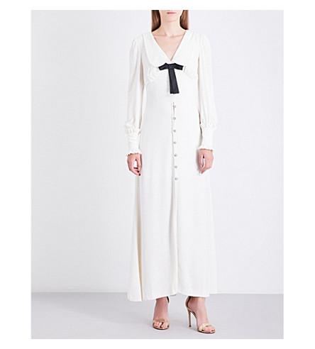 ALESSANDRA RICH Peter Pan-collar velvet dress (White