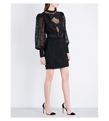 ALESSANDRA RICH Bow-embellished cotton-blend lace mini dress (Black