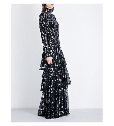 ALESSANDRA RICH Open-back sequin and chiffon gown (Nero
