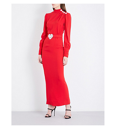 ALESSANDRA RICH Diamante-embellished crepe dress (Red