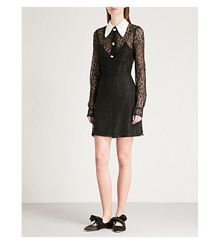 ALESSANDRA RICH Diamanté-detail silk-lace dress (Black