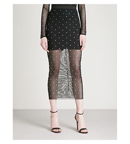 ALESSANDRA RICH Diamanté-detail mesh midi skirt (Black