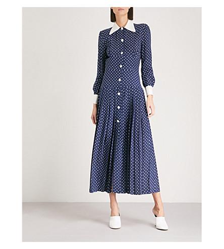 ALESSANDRA RICH Polka dot silk-crepe de chine dress (Navy+blue
