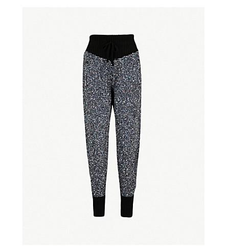 ALESSANDRA RICH Metallic and sequin-knit cashmere-blend jogging bottoms (Black