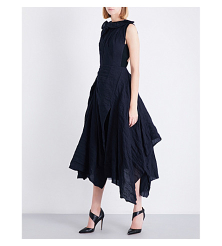 MATICEVSKI Photogenic wool-blend midi dress (Navy+linen