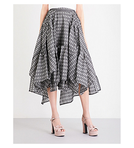 TONI MATICEVSKI Alumnus embroidered silk midi skirt (Hexagonal embroidered