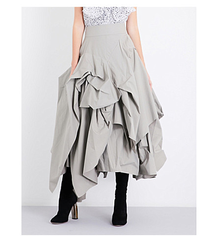MATICEVSKI Tulip-silhouette asymmetric cotton-blend skirt (Khaki+cotton