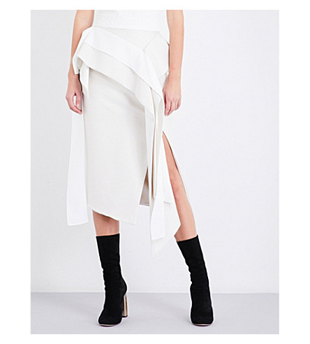 MATICEVSKI Inductor flared-panel cotton and silk-blend skirt (Pearl