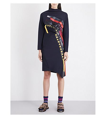 MARTINA SPETLOVA Leather-trim draped neoprene dress (Navy