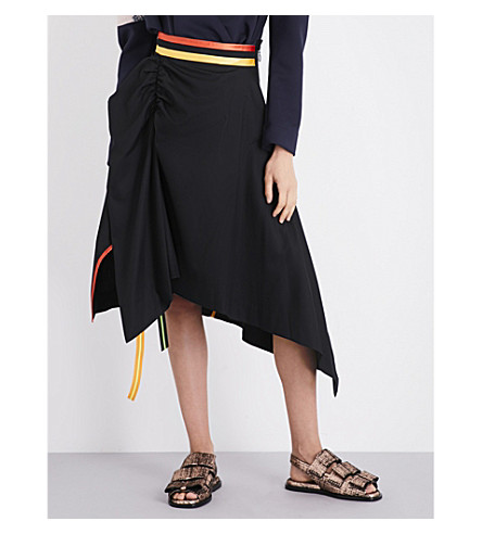 MARTINA SPETLOVA Asymmetric cotton-poplin skirt (Blk