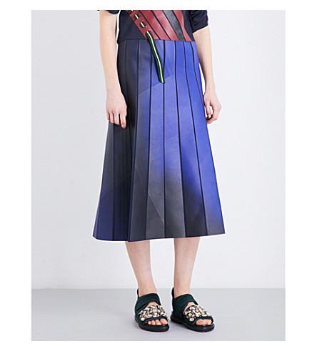 MARTINA SPETLOVA Striped leather midi skirt (Blue/green