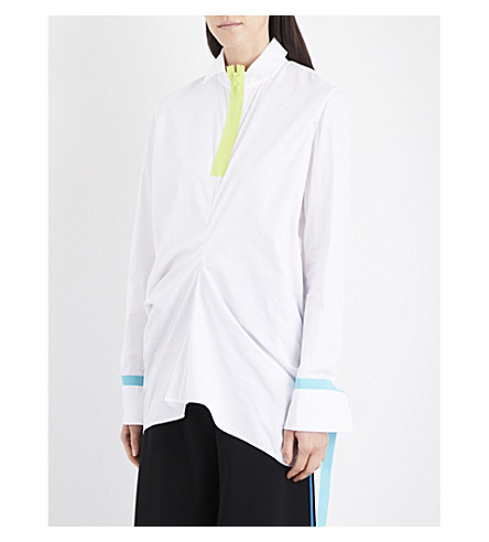 MARTINA SPETLOVA Neon-trim draped cotton-poplin shirt (Wht