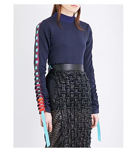 MARTINA SPETLOVA Ribbon-detail leather top (Black