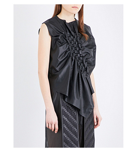 MARTINA SPETLOVA Perforated leather top (Black