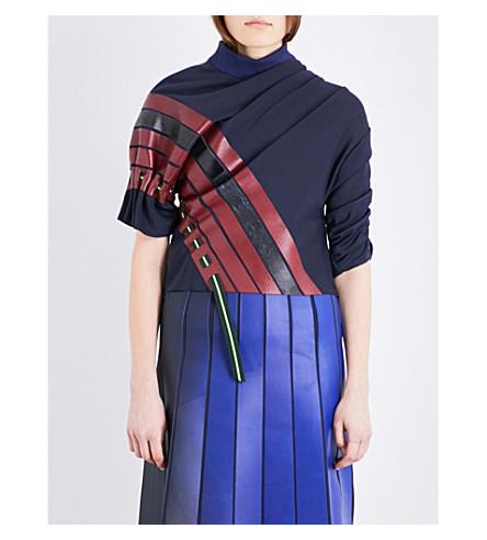 MARTINA SPETLOVA Striped ruched leather top (Navy burg