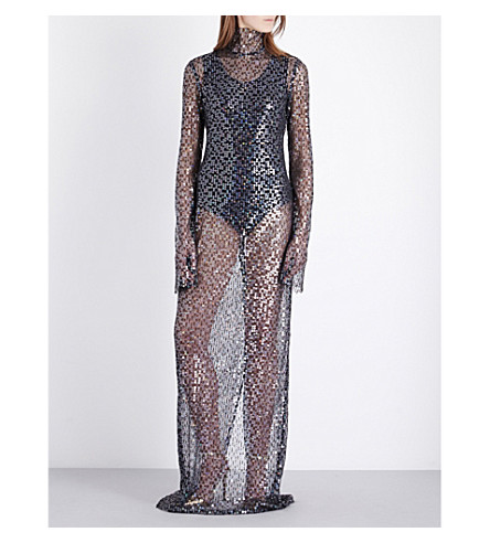 ELLERY Olympic funnel-neck sequinned gown (Black/ clear