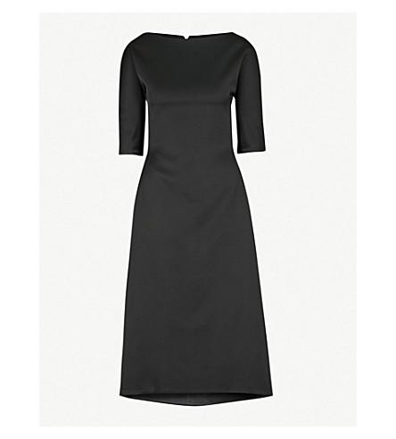 MATICEVSKI特效配合耀斑缎布迷笛连衣裙 (黑色缎布