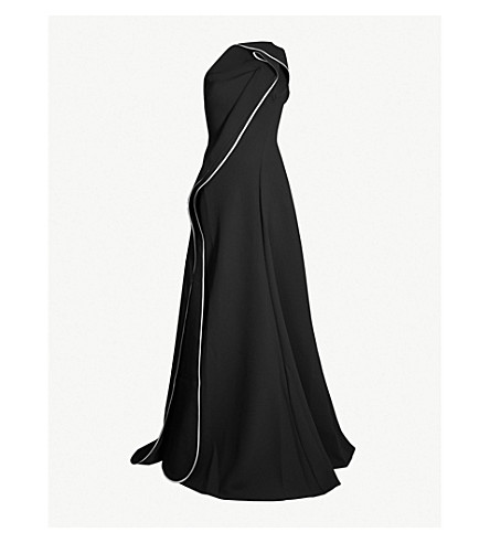 MATICEVSKI Amorous one-shoulder ruffled crepe gown (Black with white binding