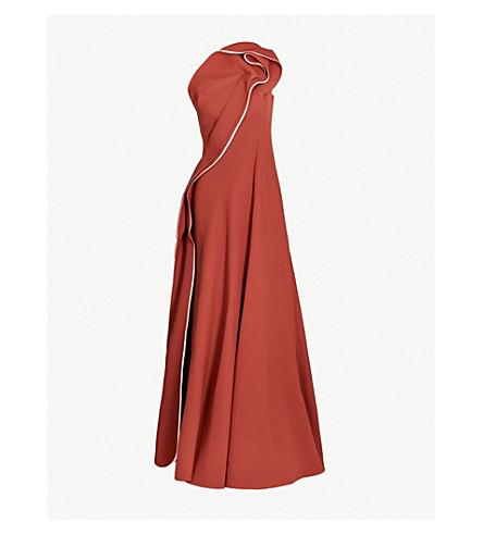 MATICEVSKI Amorous one-shoulder ruffled crepe gown (Red wine with pink