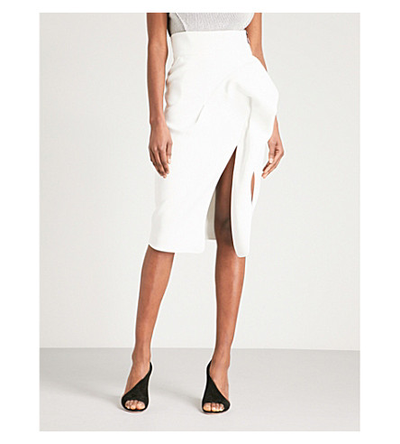 MATICEVSKI Ruched crepe pencil skirt (White