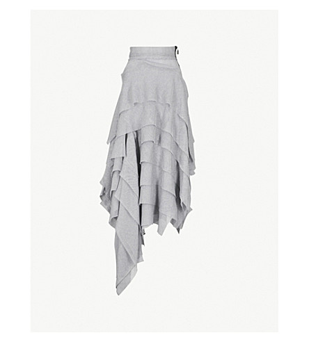 MATICEVSKI Ruffled mesh maxi skirt (Blue grey