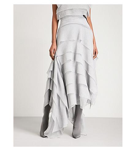 MATICEVSKI 竖起的网格马克西裙子 (蓝色或灰色