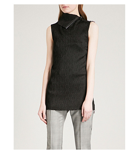 MATICEVSKI Crinkle turtleneck sleeveless satin top (Black+crinkle