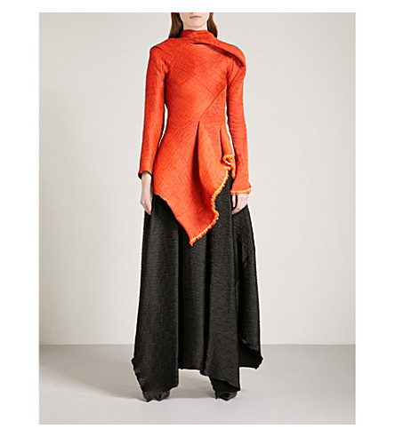 MATICEVSKI Frayed-hem pleated woven top (Burnt+red