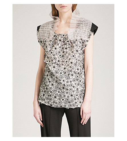 MATICEVSKI Floral-embroidered silk-mesh top (Multi