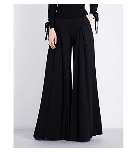 ELIE SAAB Pleated crepe trousers (Black