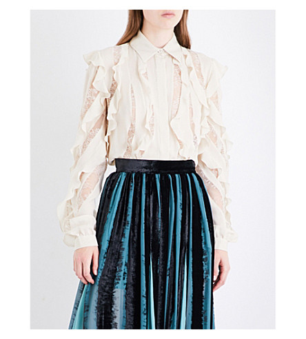 ELIE SAAB Ruffled floral-lace and silk-blend shirt (Sugar