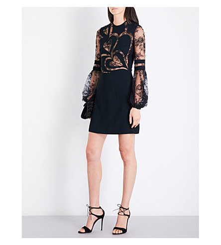 ELIE SAAB Heart cutout floral-lace and crepe mini dress (Black