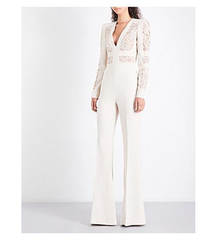 ELIE SAAB V-neck floral-lace and crepe jumpsuit (Sugar