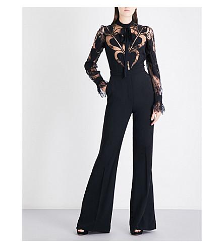 ELIE SAAB Floral-lace and crepe jumpsuit (Black
