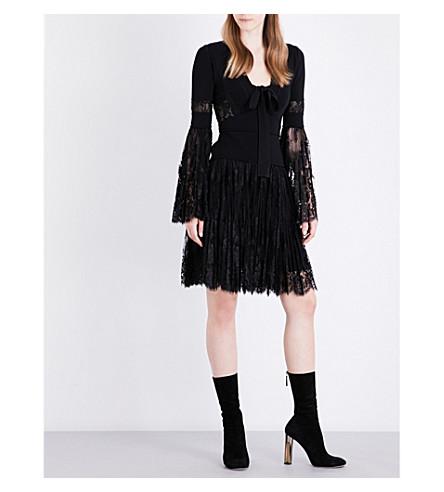 ELIE SAAB Tie-necked lace dress (Black