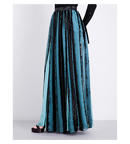 ELIE SAAB Pleated velvet and silk maxi skirt (Multicolour