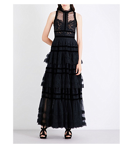 ELIE SAAB Tiered floral lace-panel gown (Black