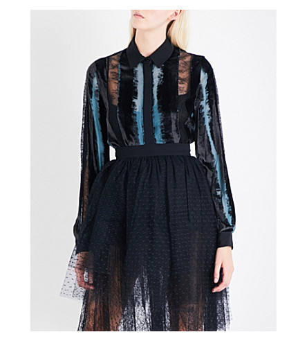 ELIE SAAB Striped velvet, chiffon and floral-lace shirt (Multicolour